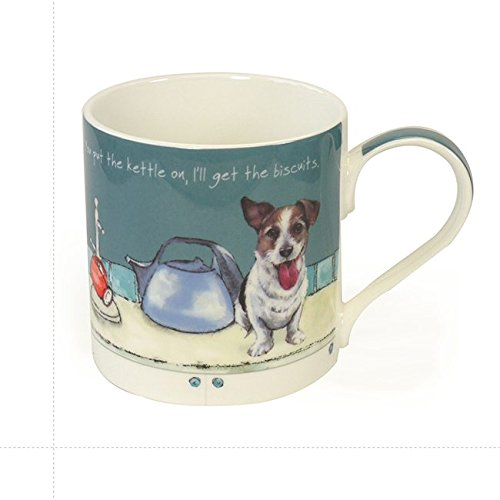 Digs & Manor Kettle On Mug and Gift Box, Bone China, Multi-Colour, 9.5 x 13 x 9.5 cm
