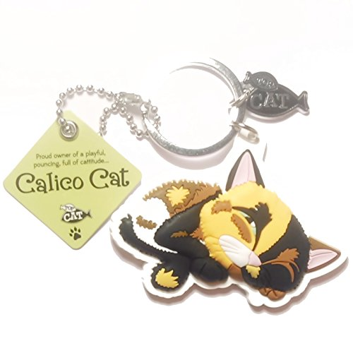 "Cat Key Ring ""Calico Cat (cattitude)"" by Paper Island Top Dog & Cat Keyrings"