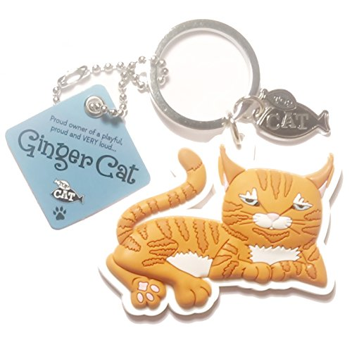 "Cat Key Ring ""Ginger Cat (loud)"" by Paper Island Top Dog & Cat Keyrings"