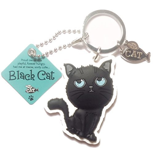 "Cat Key Ring ""Black Cat (hungry)"" by Paper Island Top Dog & Cat Keyrings"