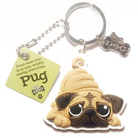 "Dog Key Ring ""Pug"" by Paper Island Top Dog & Cat Keyrings"