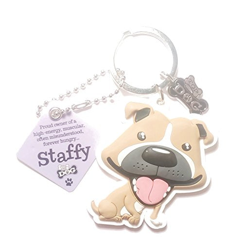 "Dog Key Ring ""Staffy (Brown)"" by Paper Island Top Dog & Cat Keyrings ?"