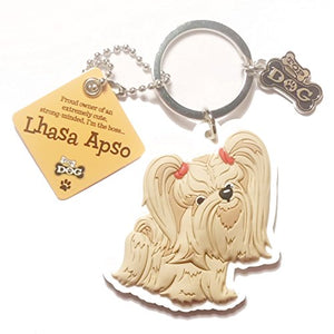 "Dog Key Ring ""Lhasa Apso"" by Paper Island Top Dog & Cat Keyrings"