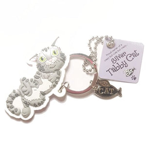 "Cat Key Ring ""Silver Tabby Cat (crazy)"" by Paper Island Top Dog & Cat Keyrings ?"
