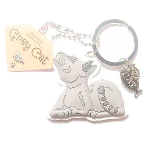 "Cat Key Ring ""Grey Cat (cool)"" by Paper Island Top Dog & Cat Keyrings ?"