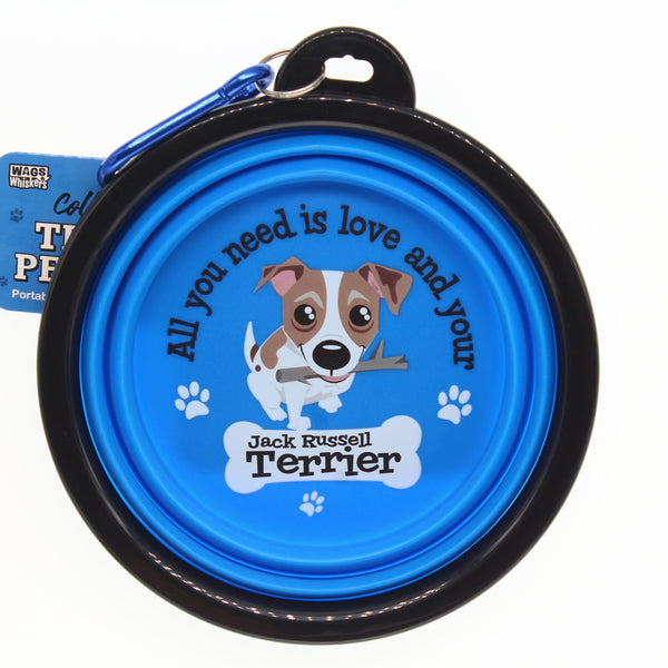 JACK RUSSELL TERRIER COLLAPSIBLE TRAVEL DOG BOWL GIFT