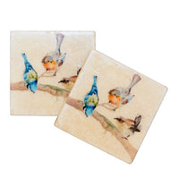 Garden Party Marble Coasters (x 2) By Kate of Kensington (10 cm x 10 cm)