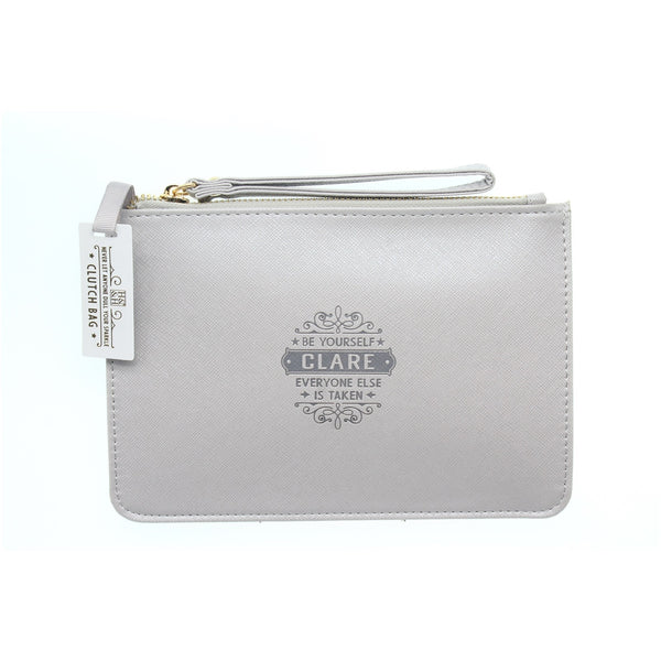 "Clutch Bag With Handle & Embossed Text ""Clare"""