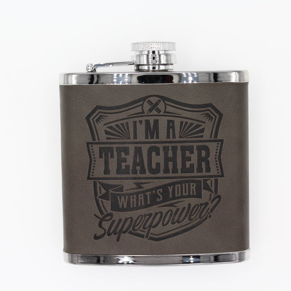 "Top Bloke Mens Gift Hip Flask for Him -  Treat for ""Teacher"""