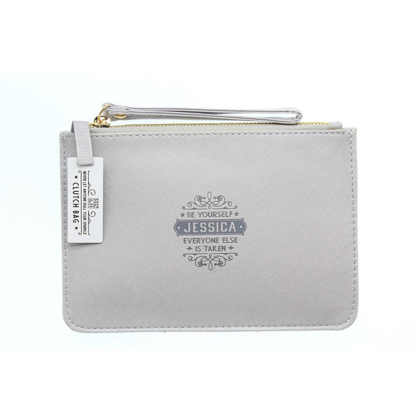 "Clutch Bag With Handle & Embossed Text ""Jessica"""