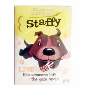"Wags & Whiskers Dog Greeting Card ""Staffy Black"" by Paper Island"