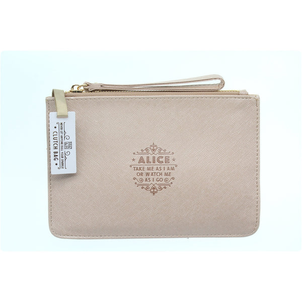 "Clutch Bag With Handle & Embossed Text ""Alice"""