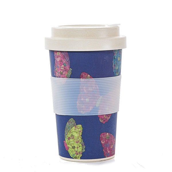 Eco Chic Navy Butterfly Bamboo Cup