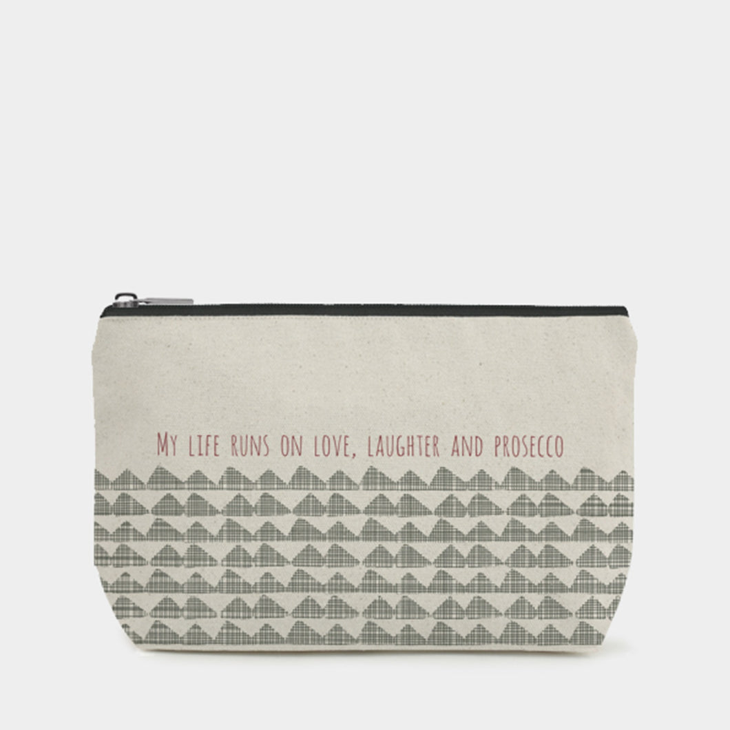 East Of India - Toiletry / Cosmetic Bag - My Life Runs On Love,