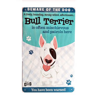 "Wags & Whiskers  Dog Sign/Plaque ""Bull Terrier"" - Tin Plaque"