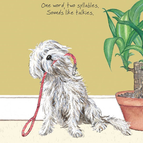 Mongrel Dog Greeting Card – Walkies