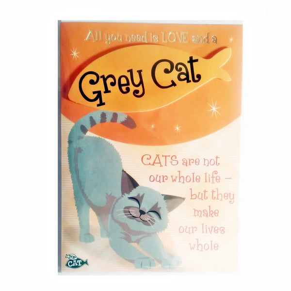 "Wags & Whiskers Cat Greeting Card ""Grey Wags & Whiskers Cat, Headstrong"" by Paper Island"