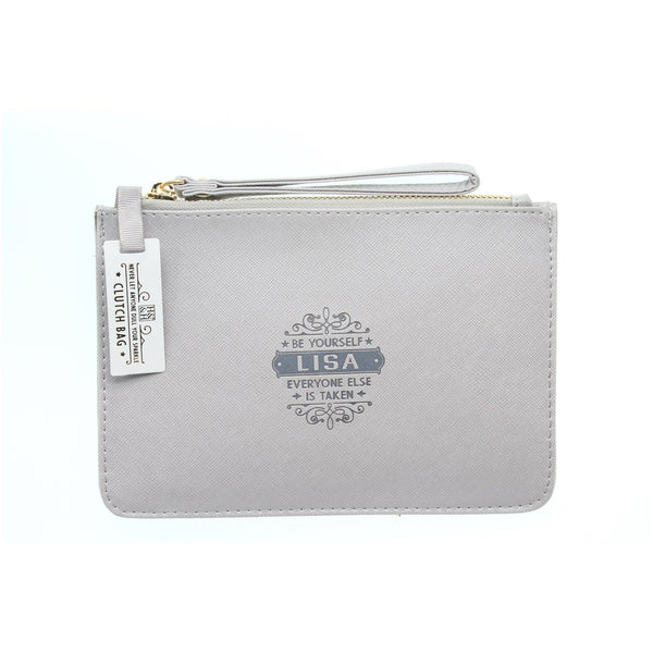 "Clutch Bag With Handle & Embossed Text ""Lisa"""