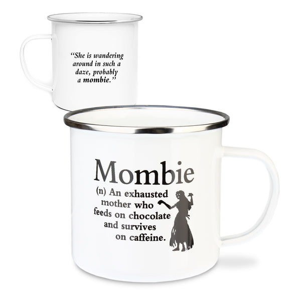 "Urban Words Tin Mug ""Mombie"" Title and Slang words including Meaning."