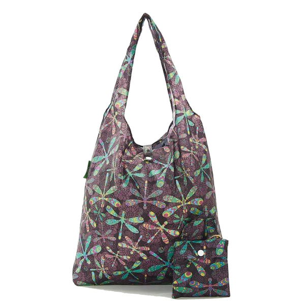 100% Recycled Foldable Dragon Fly Print Reusable Shopper Bag by Eco Chic