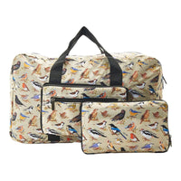 Eco Chic Lightweight Foldable Holdall Wild Birds (Green)