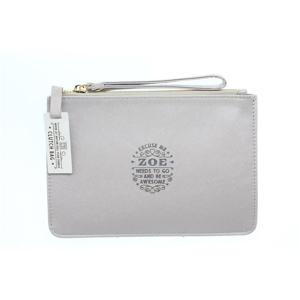 "Clutch Bag With Handle & Embossed Text ""Zoe"""