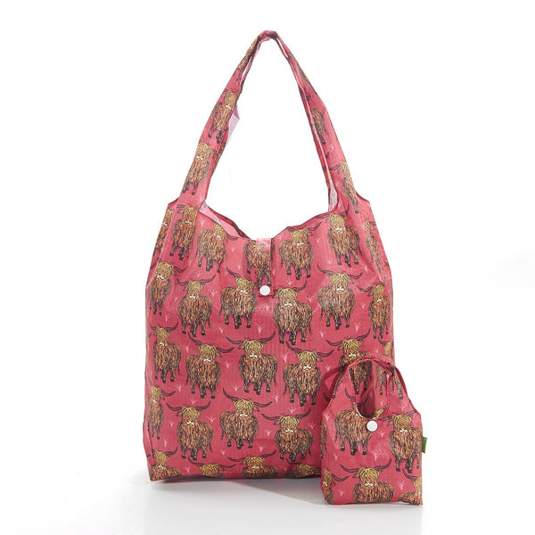 Eco-Chic Red Highland Cattle Print Shopper Bag