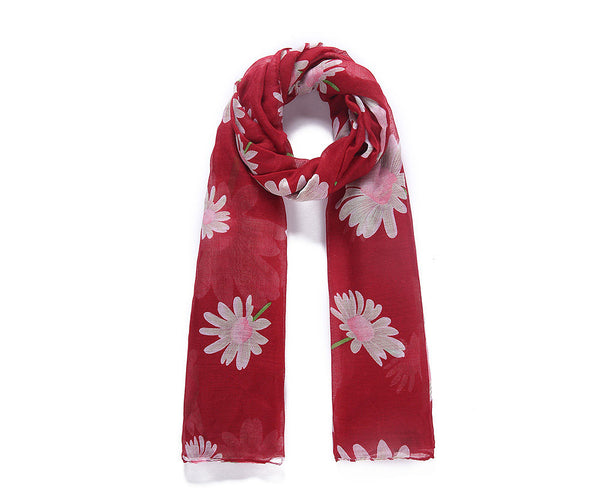 Red floral print long scarf