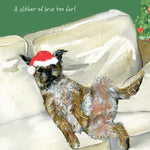 Border Terrier dog in Santa hat Christmas card - Too much cheese