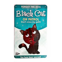 "Wags & Whiskers  Cat Sign/Plaque ""Black Cat (patrol)"" - Tin Plaque"