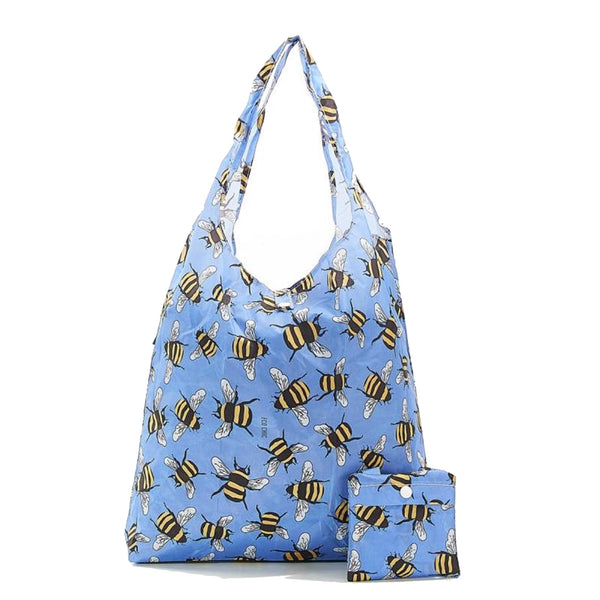 New 2020 Eco Chic 100% Recycled Foldable Bee Print Reusable Shopper Bag