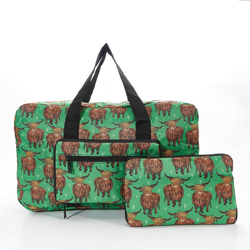 Eco Chic foldaway Holdall with Highland Cow design Green