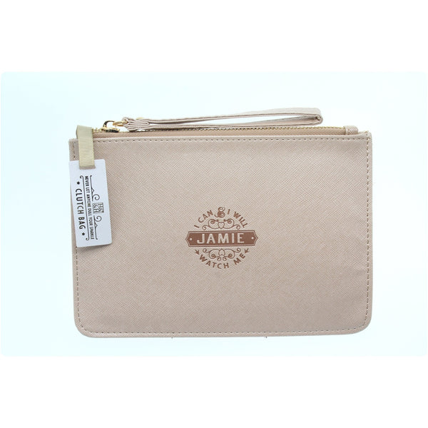 "Clutch Bag With Handle & Embossed Text ""Jamie"""