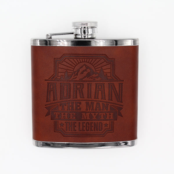 "Top Bloke Mens Gift Hip Flask for Him -  Treat for ""Adrian"""