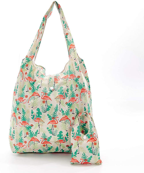 Beige Flamingo Foldable Shopper by Eco Chic