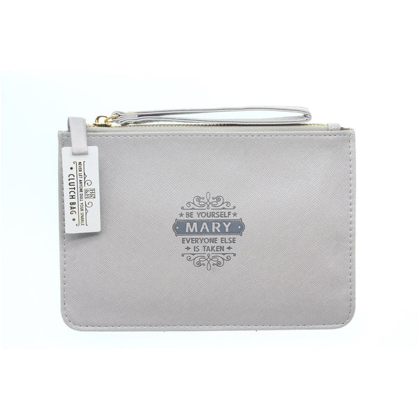 "Clutch Bag With Handle & Embossed Text ""Mary"""