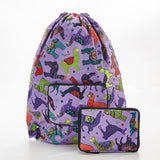 Eco Chic Purple Llama Foldable Drawstring Bag