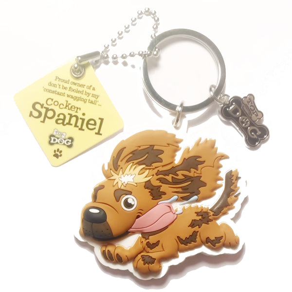 "Dog Key Ring ""Cocker Spaniel (Buff)"" by Paper Island Top Dog & Cat Keyrings"