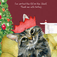 Tabby Cat Christmas Card – Sorted Elf