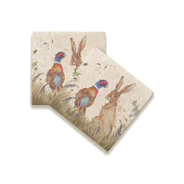 Country Companions: Pheasant & Hare Coaster 2 off By Kate of Kennsington