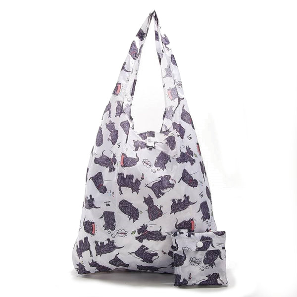 New 2020 Eco Chic 100% Recycled Foldable Scotty Dog Print Reusable Shopper Bag