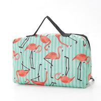 ECO CHIC Foldable Waterproof Picnic Blanket in Green Flamingo with Carry Bag