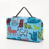 Eco Chic Bright Blue Funky Cats Lover Print Design Picnic Blanket Foldable Bag