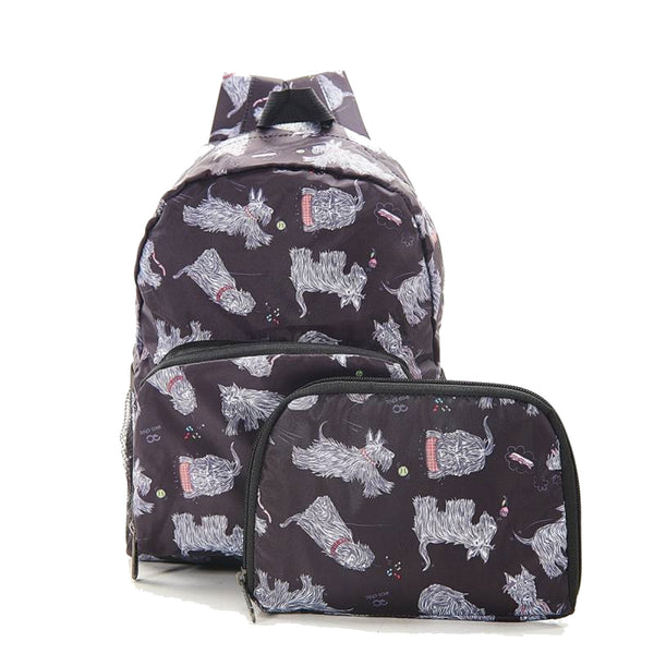 New 2020 Eco Chic 100% Recycled Foldabe Scotty Dog Print Mini Backpack