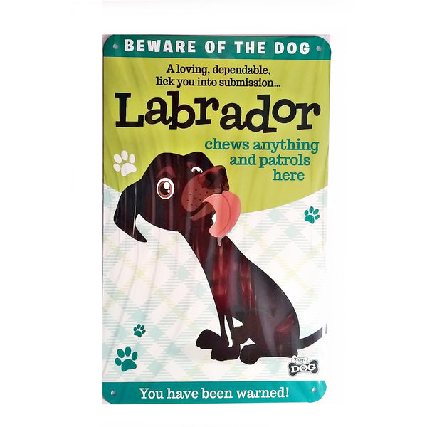 "Wags & Whiskers  Dog Sign/Plaque ""Labrador (Brown)"" - Tin Plaque"
