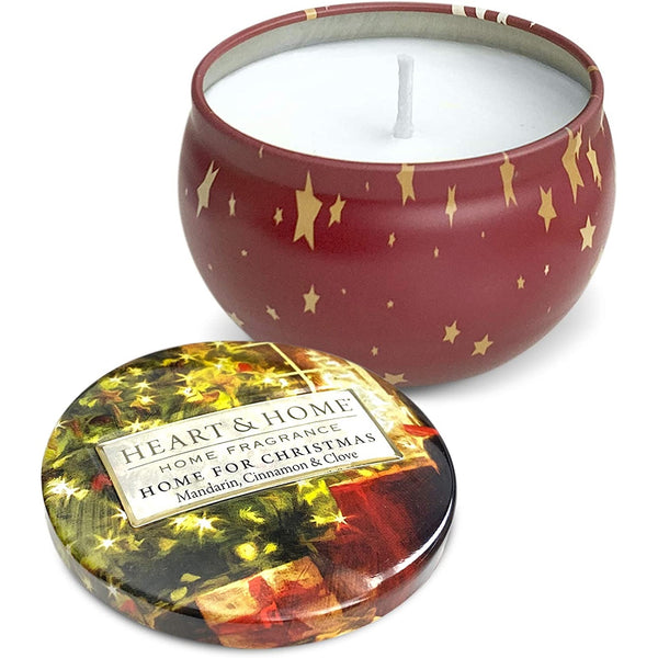 Heart & Home Christmas Tin Candle Home for Christmas