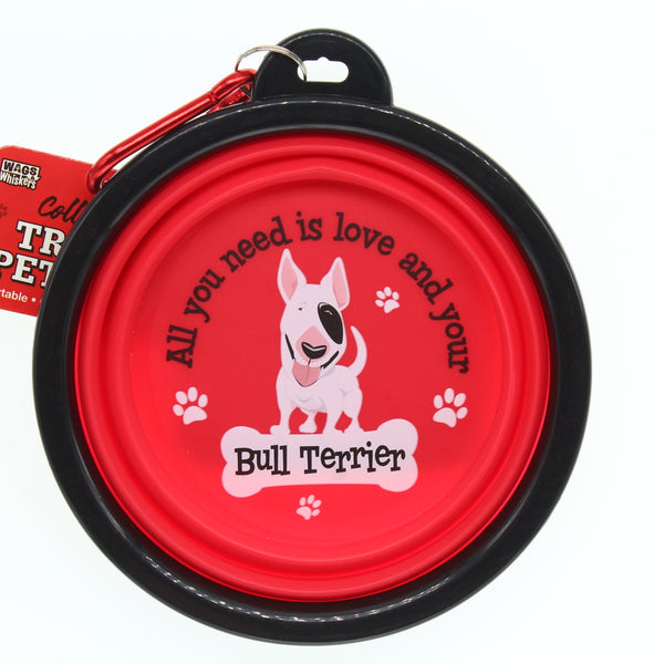 BULL TERRIER COLLAPSIBLE TRAVEL DOG BOWL GIFT