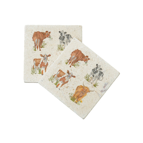British collection Cows Marble Coaster Set of 2 BY KATE OF KENSINGTON