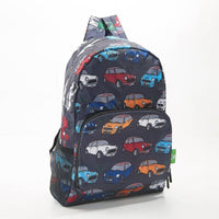 Eco Chic Backpack Foldable Expandable Lightweight Grey Mini Car Fabric Made from 100% Recycled Plastic