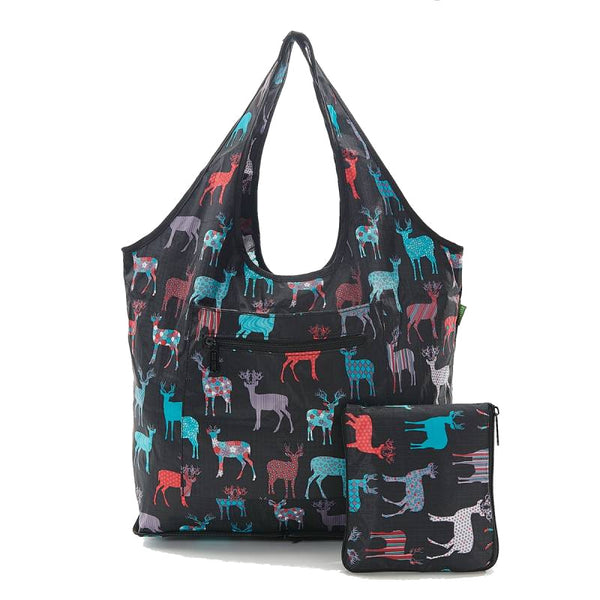 Weekend Bag by Eco Chic Stag Print Black
